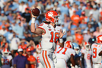 CHAPEL HILL, NC - SEPTEMBER 28: Trevor Lawrence #16 of Clemson University throws the ball during a game between Clemson University and University of North Carolina at Kenan Memorial Stadium on September 28, 2019 in Chapel Hill, North Carolina.