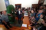 Coiner Ken Hopple, left, listens as Lt. Gov. Brian Krolicki speaks at a ceremony marking the beginning of production of the third medallion in the four-part Sesquicentennial series, at the Nevada State Museum in Carson City, Nev., on Friday, May 30, 2014. <br /> Photo by Cathleen Allison