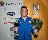 01-12-13,Netherlands, Almere,  National Tennis Center, Tennis, Winter Youth Circuit, Boys 16 years , winner Patric Speelman<br /> Photo: Henk Koster