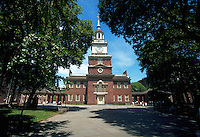 Independence Hall framed by green trees, Philadelphia, Pennsylvania