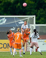 St Louis Athletica defender Kendall Fletcher (24) goes up for a ball over Sky Blue FC  forward Natasha Kai (6) during a WPS match at Anheuser-Busch Soccer Park, in St. Louis, MO, June 7, 2009. Athletica won the match 1-0.
