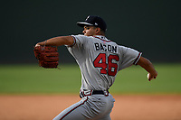 Pitcher Troy Bacon (46) of the Rome Braves delivers a pitch in Game 1 of a doubleheader against the Greenville Drive on Friday, August 3, 2018, at Fluor Field at the West End in Greenville, South Carolina. Rome won, 7-6. (Tom Priddy/Four Seam Images)