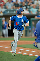 Kyle Garlick (17) of the Oklahoma City Dodgers runs to first base against the Salt Lake Bees at Smith's Ballpark on August 1, 2019 in Salt Lake City, Utah. The Bees defeated the Dodgers 14-4. (Stephen Smith/Four Seam Images)