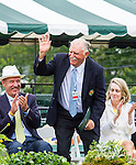 Aussie Owen Davidson acknowledges the crowd at the 2015 Induction Ceremony at the International Tennis Hall of Fame, Newport, RI USA.  The ceremony took place on July 18, 2015