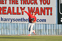 Lakewood BlueClaws center fielder Mickey Moniak (22) throws the ball during a game against the Asheville Tourists at McCormick Field on June 2, 2017 in Asheville, North Carolina. The Tourists defeated the BlueClaws 7-5. (Tony Farlow/Four Seam Images)