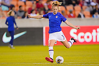 HOUSTON, TX - FEBRUARY 03: Samantha Mewis #3 of the United States takes a shot on goal warming up during a game between Costa Rica and USWNT at BBVA Stadium on February 03, 2020 in Houston, Texas.