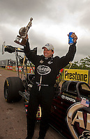 May 1, 2011; Baytown, TX, USA: NHRA top fuel dragster driver Del Worsham celebrates after winning the Spring Nationals at Royal Purple Raceway. Mandatory Credit: Mark J. Rebilas-