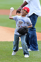 Buffalo Bills running back Fred Jackson son Braeden throws out a first pitch before a Buffalo Bisons game against the Lehigh Valley IronPigs at Coca-Cola Field on April 19, 2012 in Buffalo, New York.  Lehigh Valley defeated Buffalo 8-4.  (Mike Janes/Four Seam Images)