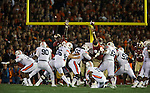 Auburn kicker Cody Parkey (36) misses a 33 yard field goal attempt in the second quarter of the BCS national title game at the Rose Bowl in Pasadena, California on January 6, 2014.   The Florida State Seminoles defeated the Auburn Tiger 34-31 to win the final BCS National Championship.