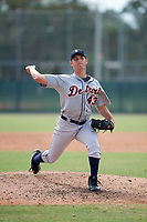 Detroit Tigers pitcher Drew Carlton (43) delivers a pitch during an Instructional League game against the Pittsburgh Pirates on October 6, 2017 at Pirate City in Bradenton, Florida.  (Mike Janes/Four Seam Images)