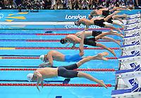 August 01, 2012..LtoR: Yannick Agnel, Cesar, Cielo, Hanser Garcia, James Magnussen, Nathan Adrian, Sebastiaan Verschuren, Brent Hayden, Nikit Lobintsev compete in Men's 100m Freestyle Final at the Aquatics Center on day five of 2012 Olympic Games in London, United Kingdom.