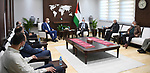 Palestinian Prime Minister Mohammad Ishtayeh, receives a delegation from the residents of the Sheikh Jarrah neighborhood in Jerusalem, in the West Bank city of Ramallah, on March 18, 2021. Photo by Prime Minister Office