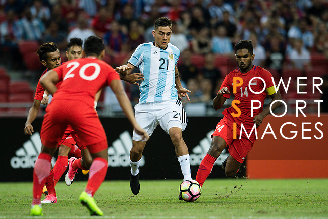 Paulo Dybala of Argentina (C) in action during the International Test match between Argentina and Singapore at National Stadium on June 13, 2017 in Singapore. Photo by Marcio Rodrigo Machado / Power Sport Images