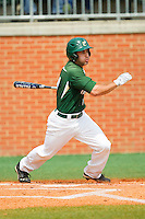 J.J. Elseser (17) of the Charlotte 49ers follows through on his swing against the Virginia Commonwealth Rams at Robert and Mariam Hayes Stadium on March 30, 2013 in Charlotte, North Carolina.  The 49ers defeated the Rams 9-8 in game one of a double-header.  (Brian Westerholt/Four Seam Images)