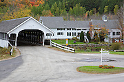 Stark Village in the historical district of Stark, New Hampshire USA during the autumn months.