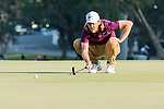 Tommy Fleetwood of England lines up a putt during the day four of UBS Hong Kong Open 2017 at the Hong Kong Golf Club on 26 November 2017, in Hong Kong, Hong Kong. Photo by Yu Chun Christopher Wong / Power Sport Images