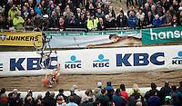 Tim Merlier (BEL/VastgoedService-Golden Palace) launching his bike over the barriers (whilst crashing at the bottom of 'The Pit')<br /> <br /> Men Elite Race<br /> Superprestige Zonhoven 2015
