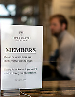 Inside the entrance where members sign in, shows signs providing vital safety and social distancing measures. Covid-19 Golf phased exit at Hever Castle Golf club, Edenbridge, England on 17 May 2020. Photo by Liam McAvoy.<br /> <br /> Hever Castle Golf club opened its golf course on May 13, 2020 in Edenbridge, Kent.<br /> Golf courses reopen in England under government guidelines after Prime Minister Boris Johnson announced the general contours of a phased exit from the current lockdown.