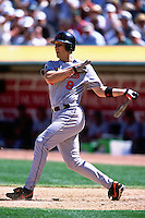 OAKLAND, CA - Cal Ripken Jr. of the Baltimore Orioles in action during a game against the Oakland Athletics at the Oakland Coliseum in Oakland, California in 2001. Photo by Brad Mangin
