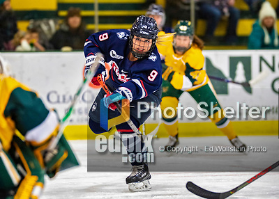 8 February 2020: University of Connecticut Husky Forward Natalie Snodgrass, a Junior from Eagan, MN, takes a shot in first period action against the University of Vermont Catamounts at Gutterson Fieldhouse in Burlington, Vermont. The Huskies defeated the Lady Cats 4-2 in the first game of their weekend Hockey East series. Mandatory Credit: Ed Wolfstein Photo *** RAW (NEF) Image File Available ***