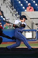 Daulton Varsho (21) of the Hillsboro Hops bats against the Spokane Indians at Ron Tonkin Field on July 22, 2017 in Hillsboro, Oregon. Spokane defeated Hillsboro, 11-4. (Larry Goren/Four Seam Images)