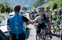 Nicolas Roche (IRL/SKY) getting handed a fresh bidon on the way up<br /> <br /> stage 16: Luarca - Ermita de Alba. Quiros (185km)<br /> 2015 Vuelta à Espagna
