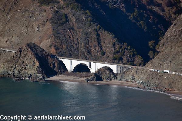 aerial photograph of maintenance of Big Creek Bridge, Big Sur, Monterey County, California