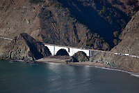 aerial photograph of maintenance of Big Creek Bridge, Big Sur, Monterey County, California