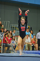 LOS ANGELES, CA - February 5, 2012:  Stanford's Nicole Dayton during competition against the UCLA Bruins at the Wooden Center.   UCLA defeated Stanford, 197.250 - 196.450.