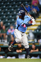 Charlotte Stone Crabs first baseman Alexander Simon (17) at bat during a game against the Bradenton Marauders on April 20, 2015 at McKechnie Field in Bradenton, Florida.  Charlotte defeated Bradenton 6-2.  (Mike Janes/Four Seam Images)