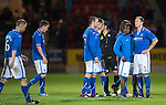 St Johnstone v FC Minsk...08.08.13 Europa League Qualifier<br /> Frazer Wright and Nigel Hasselbaink can't believe what has happened<br /> Picture by Graeme Hart.<br /> Copyright Perthshire Picture Agency<br /> Tel: 01738 623350  Mobile: 07990 594431