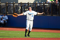 Hudson Valley Renegades first baseman Casey Gillaspie (43) calls for a pop fly during the game against the Brooklyn Cyclones at Dutchess Stadium on June 18, 2014 in Wappingers Falls, New York.  The Cyclones defeated the Renegades 4-3 in 10 innings.  (Brian Westerholt/Four Seam Images)