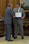 12.09,2012. King Juan Carlos I of Spain attend the delivery of 'XXIII FIES Journalism Award', awarded to Juan Manuel de Prada at the Zarzuela Palace. In the image (L-R) King Juan Carlos, Rafael Guardans  (President of FIES) and Juan Manuel de Prada (Alterphotos/Marta Gonzalez)