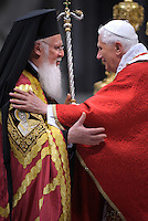 Pope Benedict XVI, and the leader of the world's Orthodox Christians, Patriarch Bartholomew I, celebrate a ceremony in memory of St. Peter and St. Paul's  Holy Mass and imposition of the Pallium on Metropolitan Archbishops..June 29, 2008...