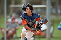 Carlos Perez (13) during the WWBA World Championship at the Roger Dean Complex on October 12, 2019 in Jupiter, Florida.  Carlos Perez attends Florida Christian High School in Miami, FL and is committed to Miami.  (Mike Janes/Four Seam Images)