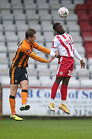 Aramide Oteh of Stevenage and Sean McLoughlin of Hull City during Stevenage vs Hull City, Emirates FA Cup Football at the Lamex Stadium on 29th November 2020