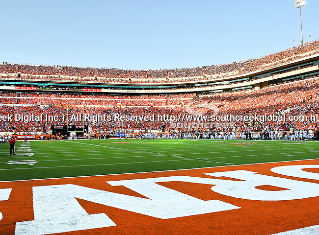 Texas Longhorns fans fill the stadium during the game between the Brigham Young Cougars and the Texas Longhorns at the Darrell K Royal - Texas Memorial Stadium in Austin, Texas. Texas defeats Brigham Young 17 to 16...