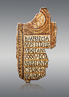 Fifth Century Christian Eastern Roman Byzantine  funerary mosaic from Mezghani Christian necropolis mounds in the Roman province of Africa Proconsularis , (Tunisian Sfax) dedicated to Priscianus. Above the memorial text is the Constantinian monogram depicting the Christian Chi-Rho symbol used by the Roman emperor Constantine I as part of his military standard (vexillum). The layout of the mosaic is typical of those excavated in the Sfax region from this period.<br />