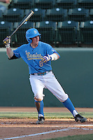 Tyler Heineman #8 of the UCLA Bruins bats against the Baylor Bears at Jackie Robinson Stadium on February 25, 2012 in Los Angeles,California. UCLA defeated Baylor 9-3.(Larry Goren/Four Seam Images)