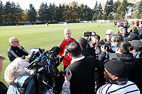TUKWILA, WA - NOVEMBER 08: Michael Bradley #4 of Toronto FC is surrounded by media at Starfire Sports Complex on November 08, 2019 in Tukwila, Washington.