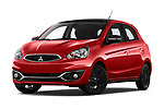 Stock pictures of low aggressive front three quarter view of 2019 Mitsubishi Space-Star Black-Collection 5 Door Hatchback Low Aggressive