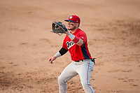 Orem Owlz first baseman Connor Fitzsimons (14) during a Pioneer League game against the Missoula Osprey at Ogren Park Allegiance Field on August 19, 2018 in Missoula, Montana. The Missoula Osprey defeated the Orem Owlz by a score of 8-0. (Zachary Lucy/Four Seam Images)