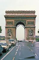 Paris: Arc de Triomphe, 1806-1810/1832-1836. Place de l'Etoile. Designed by Jean Chalgrin. Monument of Neo-Classical design. Photo '87.
