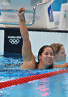 August 02, 2012..Ranomi Kromowidjojo reacts after winning Women's 100m Freestyle Final at the Aquatics Center on day six of 2012 Olympic Games in London, United Kingdom.