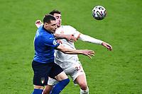 6th July 2021; Wembley Stadium, London, England; Euro 2020 Football Championships semi-final, Italy versus Spain;  Andrea Belotti (Ita) challenges Aymeric Laporte (Esp)