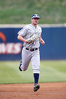 Kelton Caldwell #12 of the BYU Cougars during a game against the Pepperdine Waves at Eddy D. Field Stadium on April 10, 2014 in Malibu, California. BYU defeated Pepperdine, 1-0. (Larry Goren/Four Seam Images)