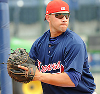 10 April 2008: J.C. Boscan (2) of the Mississippi Braves, Class AA affiliate of the Atlanta Braves, in a game against the Mobile BayBears at Trustmark Park in Pearl, Miss. Photo by:  Tom Priddy/Four Seam Images