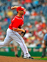 24 May 2009: Washington Nationals' pitcher Ron Villone on the mound in relief against the Baltimore Orioles at Nationals Park in Washington, DC. The Nationals rallied to defeat the Orioles 8-5 and salvage one win of their interleague series. Mandatory Credit: Ed Wolfstein Photo