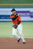 AZL Giants second baseman Jose Rivero (26) makes a throw to first base against the AZL Padres 2 on July 13, 2017 at Scottsdale Stadium in Scottsdale, Arizona. AZL Giants defeated the AZL Padres 2 11-3. (Zachary Lucy/Four Seam Images)
