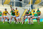 Conor Johnston, Antrim in action against Fionan Mackessy, Kerry during the Joe McDonagh Cup Final match between Kerry and Antrim at Croke Park in Dublin.